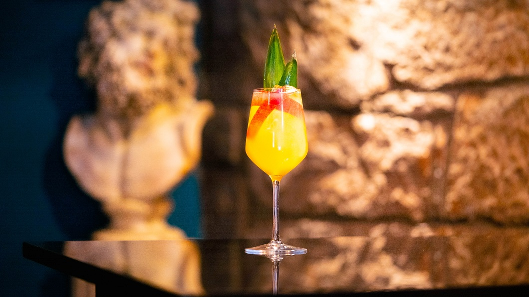 PINEAPPLE & RHUBARB PUNCH : Lindores Abbey Aqua Vitae, Pineapple Juice and Rhubarb Bitters, topped with Lemon Tonic Water