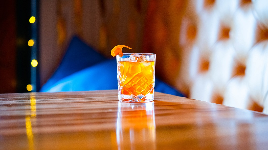 NO STONE UNTURNED : Dark Matter Spiced Rum, Homemade Roasted Avocado Stone Orgeat and Bitters