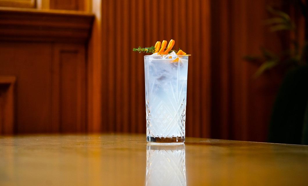SUMMER THYME : Tanqueray Gin, Luxardo Maraschino Cherry Liqueur, Rhubarb Cordial, Lemon Purée and Sugar Syrup