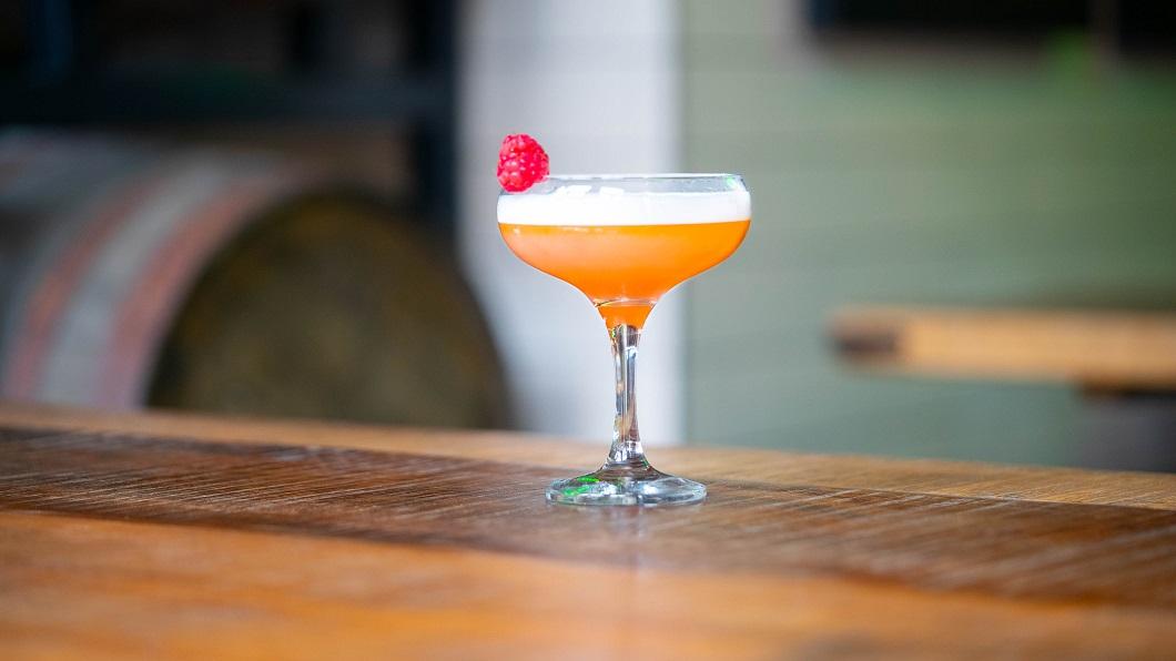RASP-BEERY ROSE : Edinburgh Gin Raspberry Liqueur, Cocchi Rosa, Cocchi Americano, Lemon Juice and Sugar Syrup, topped with Innis & Gunn IPA
