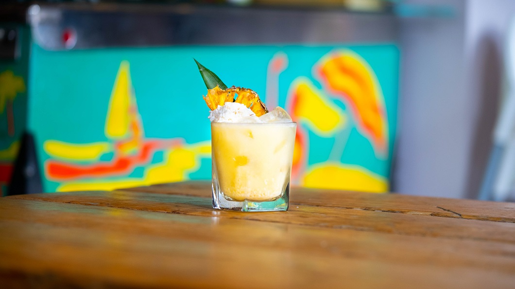 BOUNTIFUL COLADA : Bounty Rum, Lime Juice and Pineapple & Coconut Shrub (coconut toasted in plant butter with sugar pineapple, cider vinegar and soya lecithin)