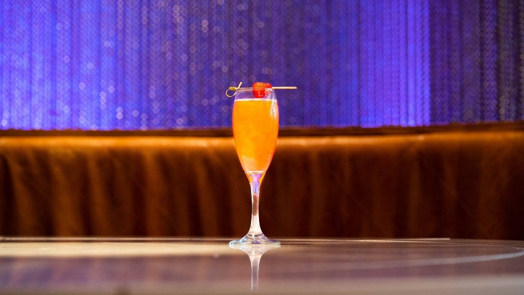 IN THE WILD : Wildcat Gin, Briottet Rhubarb Liqueur and Watermelon Syrup, topped with Prosecco