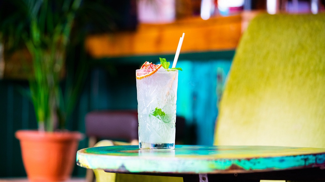 S&M BLOOD ORANGE MOJITO : Don Q Cristal Rum, Solerno Blood Orange Liqueur, Lime Juice and Mint, topped with Soda