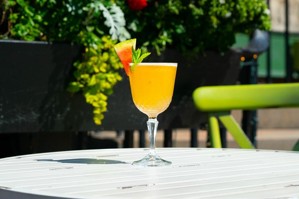 THINK PINK : Hendrick's Gin, Giffard Watermelon Liqueur, Pineapple Juice, Orange Bitters and Cucumber & Yuzu Syrup