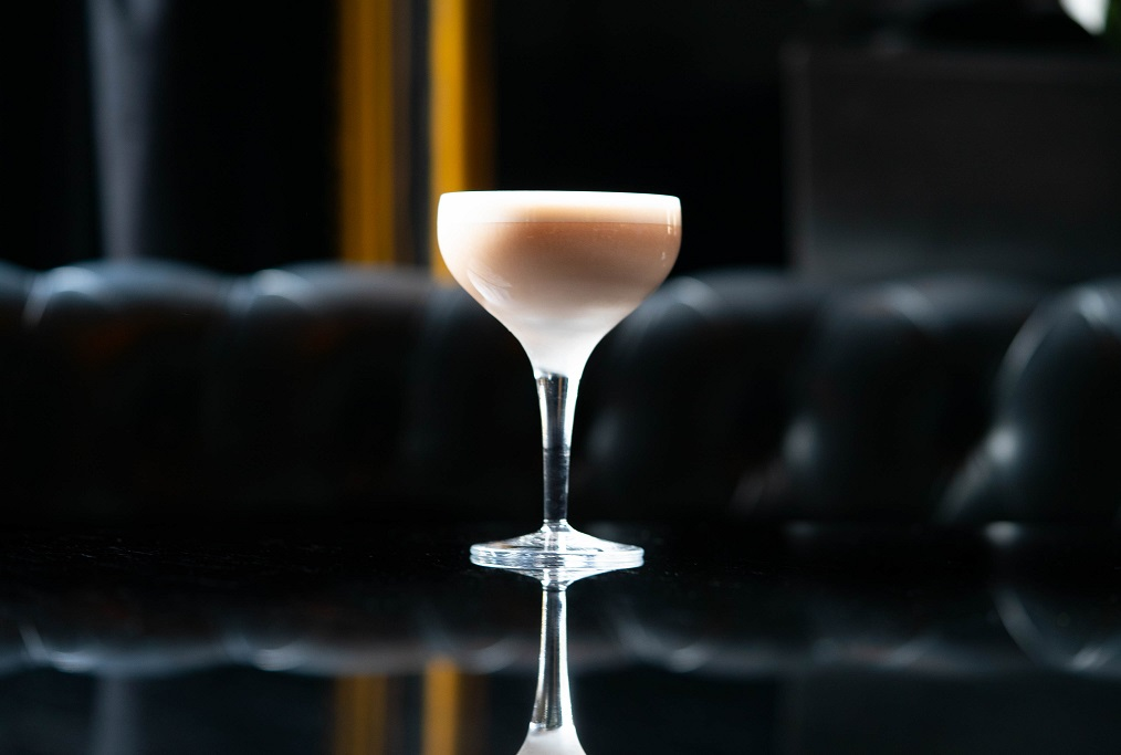 ROKU BLOSSOM FIZZ : Roku Gin, Heering Cherry Liqueur, Lime Juice, Rose Water, Sugar Syrup, Egg White and Milk (or milk alternative)
