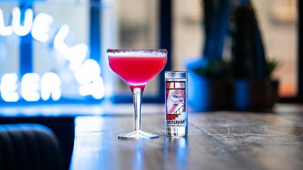 PORNSTAR MARGARITA : Patrón Citrónage Tequila, Orange Juice, Lime Juice, Lemon Juice, Blood Orange Sugar Syrup and a Sugar & Pink Peppercorn Dusted Rim
