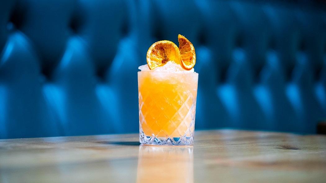 BLACK IVY KISS : Beefeater Blood Orange Gin, Angostura 5 Year Age Rum, Orange Falernum, Lemon Juice and Sugar Syrup