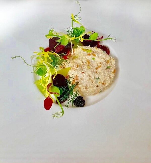 Crab and Smoked Salmon dish from Castlehill Dundee. Photo taken from their Facebook page