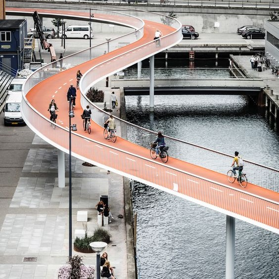 Sustainability article. Image of bike bridge in Copenhagen