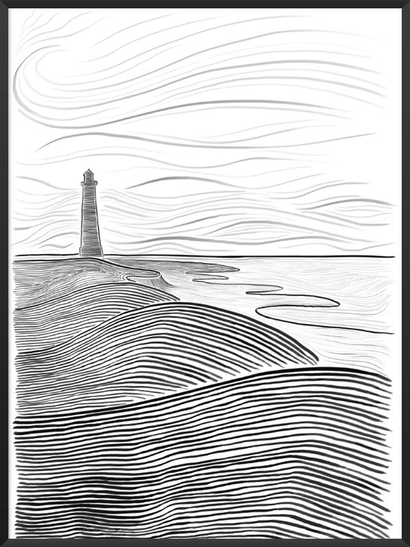 Monochrome Art. Image of Danish Seaside Poster.jpg