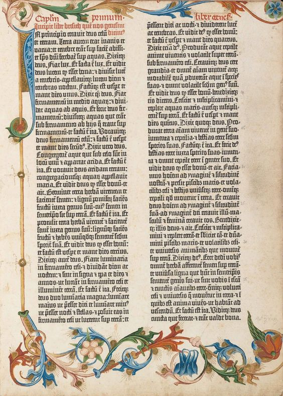 Page from the Gutenberg Bible, 1450s. One of the first mass-printed books.