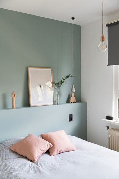 Cosy Room article. Image of bed with green accent wall behind it.jpg