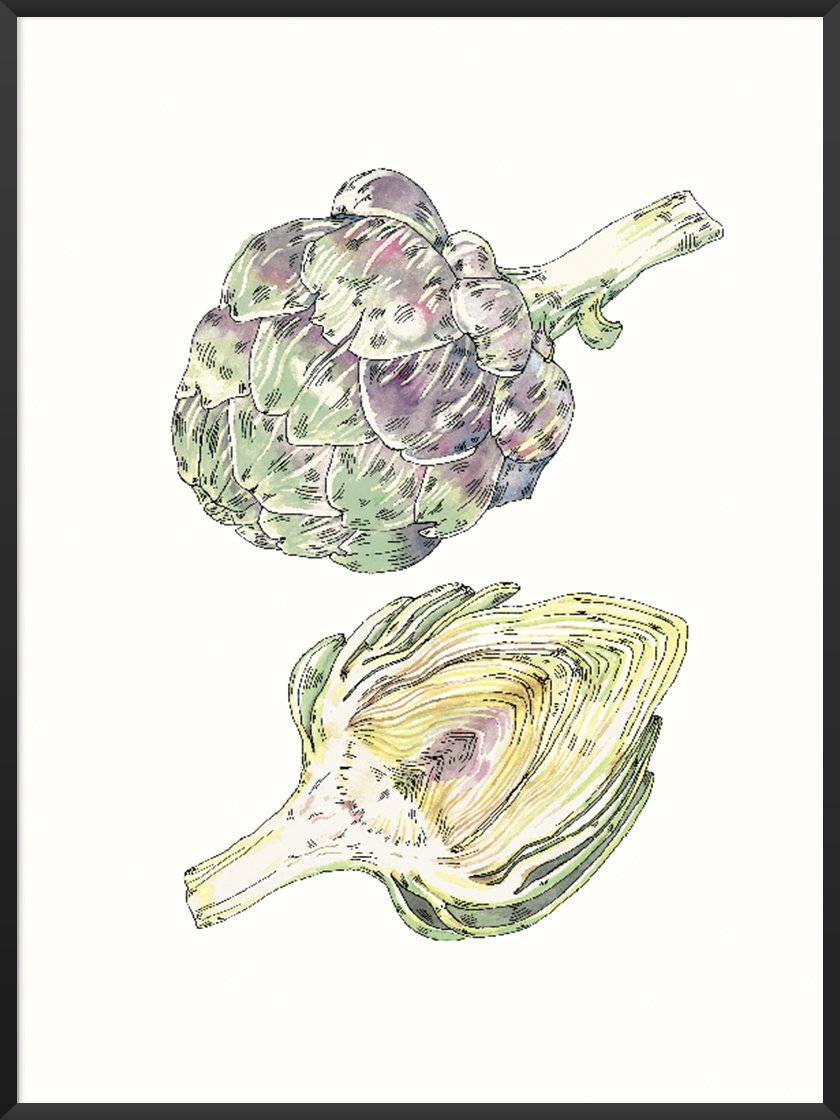 Foods that will save the planet article. Image of Vintage Hand Painted Artichoke poster