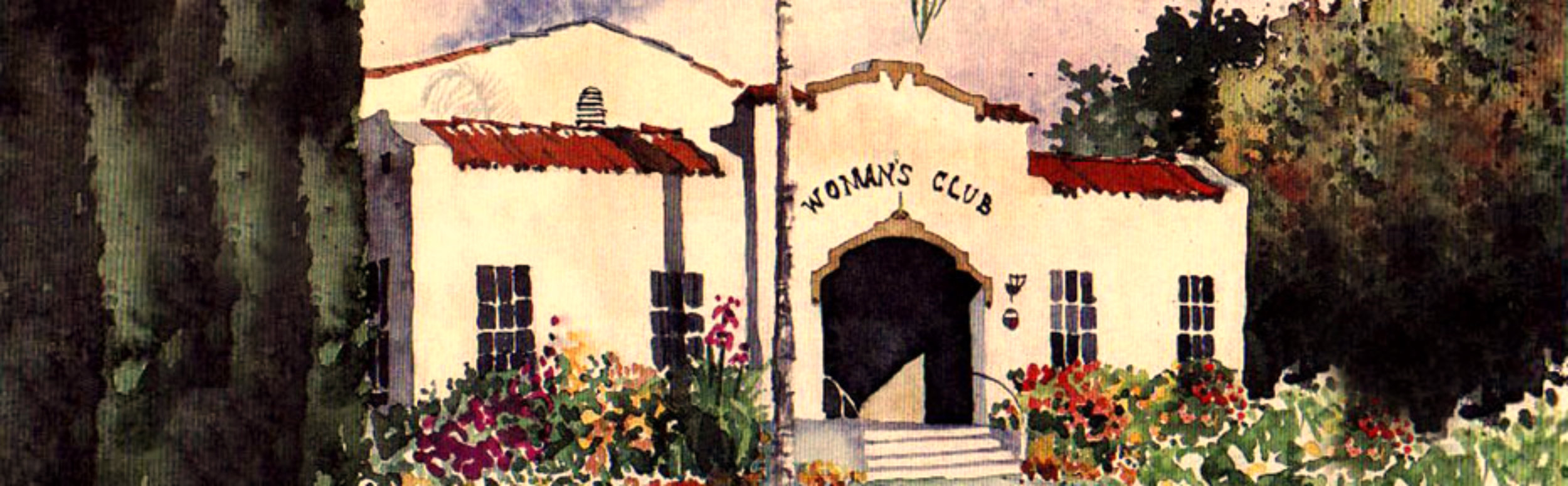 The Woman's Club Event Center in Orange Vintage Watercolor Painting