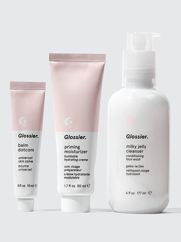 Glossier Set - Balm dotcom: universal skin salve; BYE ashy! put this sh*t on everything (lips, cuticles, hands, etc.).Priming Moisturizer: buildable and hydrating without feeling greasy, good for underneath makeup or alone. Key Ingredient: Hyaluronic Acid which is good for hydration.Cleanser-conditioning face wash with ProVitaminB and rose water that removes most of my eye makeup