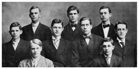 The above pictured men were the original members of the Owl Club and the founders of Sigma Alpha. Rear: J. William Douglass, George Smith and William O'Brien. Middle: Herbert Franklin, Daniel Lynch, Albert Davis and J.R. Cornog. Front: Albert J. Salathe and Edward H. Clayton. Absent: H.F. Keyser.
