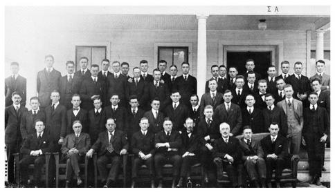 The above image was taken on March 29, 1918 when the brothers of Sigma Alpha were installed at Colgate as the New York Zeta Chapter of Phi Delta Theta. The Sigma Alpha house was purchased by the brothers of Sigma Alpha in 1914, and burned down in 1924. It was replaced by the current chapter house.