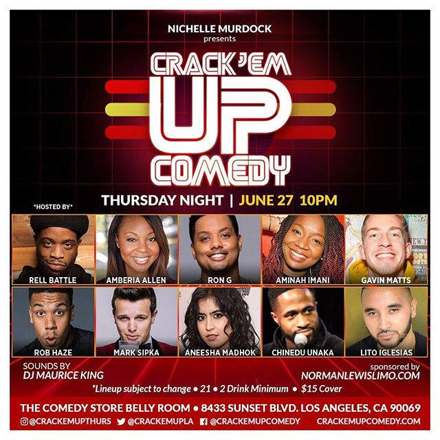 Crack'Em Up Comedy LIVE on Thursday Nights!! Join us for our next show- June 27!!! We guarantee it's FRESH & FUNNY!! 10p @thecomedystore 🤩🤡🤩 #crackemupthursdays💥🤪 * * * * * * #thingstodoinla #jokes #westhollywood #laarea #risingstars #funnyladies #sunsetblvd #sunsetstrip #dreamchasers #thursdays #crackemupcomedy #blackcomedy #tvstars #specialguests #poc #meetup #normanlewislimo #gotjokes  #hollywoodcomedy #funnyguys #livelaughlove #bestofla