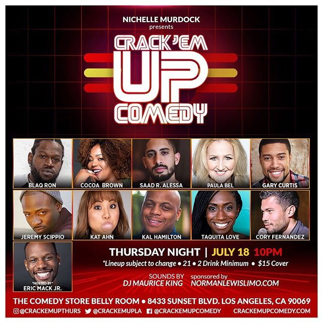 BIG BIG LAUGHS on the way for sure this week👉👉🤡 @crackemupthurs!! Make sure you come early for this one!! So much funny to go around & @iamericmack is hosting!! #funnytimes 🎭🤪 #crackemupthursdays 🤣 * * * * Click TICKET button in BIO🔼🎟 * * * * * #crackemupcomedy #bellyroom #risingstars #specialguests #thingstodoinla #comedyvets  #thursdayshow #lacomedy #bestofla #comedyclub #funnypeople #blackcomedy #poc #comedyshow #lacomedyscene #comedy #jokesfordays #hollywood  #weknowfunny #normanlewislimo #goingsince2003 #everythursday #love2laugh #happyhappyjoyjoy