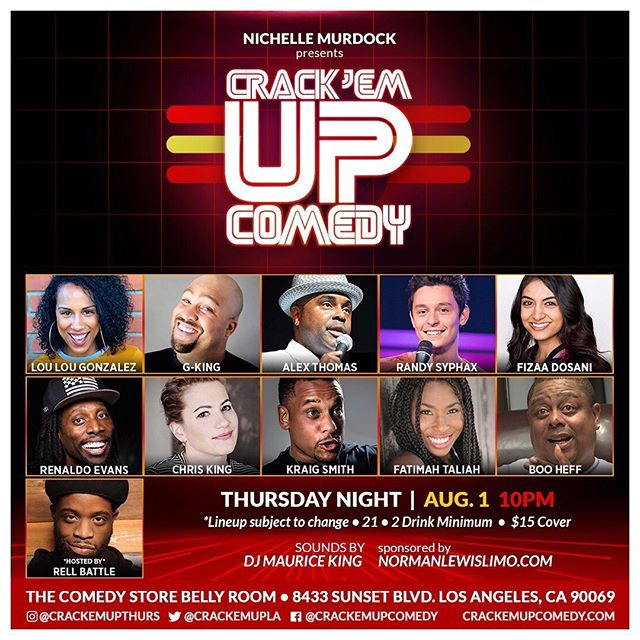 A lil bit of this & a lil bit of that!! We're delivering more funny this Thursday at Crack'Em Up!! Don't miss us... @rellbattle is hosting!! #crackemupthursdays 🤪🤴🏾🤩🤡 * * * * * #crackemupcomedy #thecomedystore #risingstars #specialguests #funnypeople #meetup #comehangout #bellyroom #thursdayvibes #lastandup #datenight #sunsetstrip #losangelescomedy #lacomedyscene #lacomedians #laarea #comedyfans #sunsetstrip #hollywoodcomedy #thingstodoinla #happy15crackemup