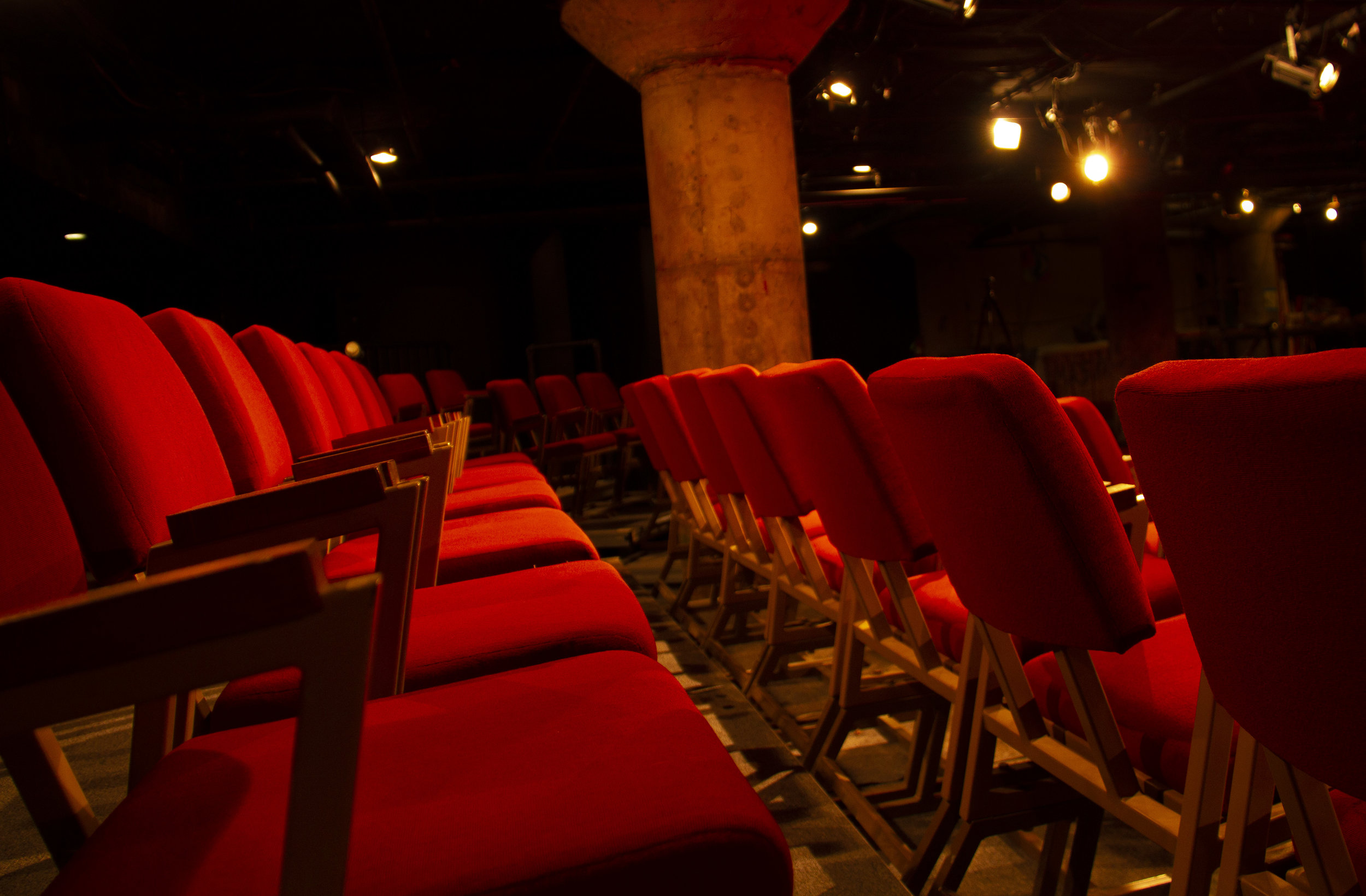 The Frank LLoyd WrighT Seating at Undermain Theatre -