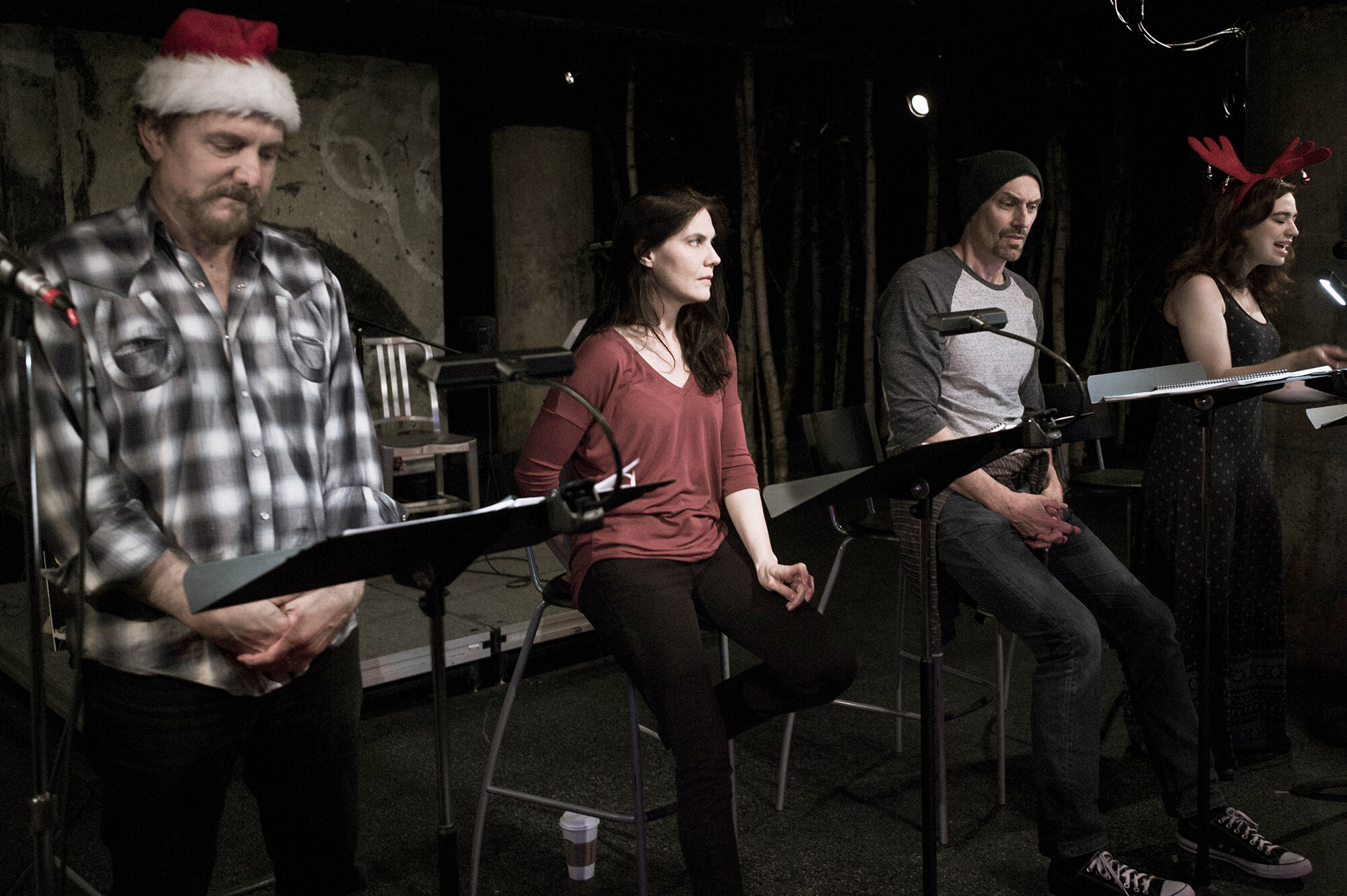 Producing Artistic Director Bruce DuBose, Company Member Joanna Schellenberg, Jim Jorgenson and Stephanie Oustellet in the reading of Len Jenkin's  How is it That We Live or Shakey Jake + Alice  in the spring of 2018. Undermain presented the World Premiere of this play in the fall of 2018