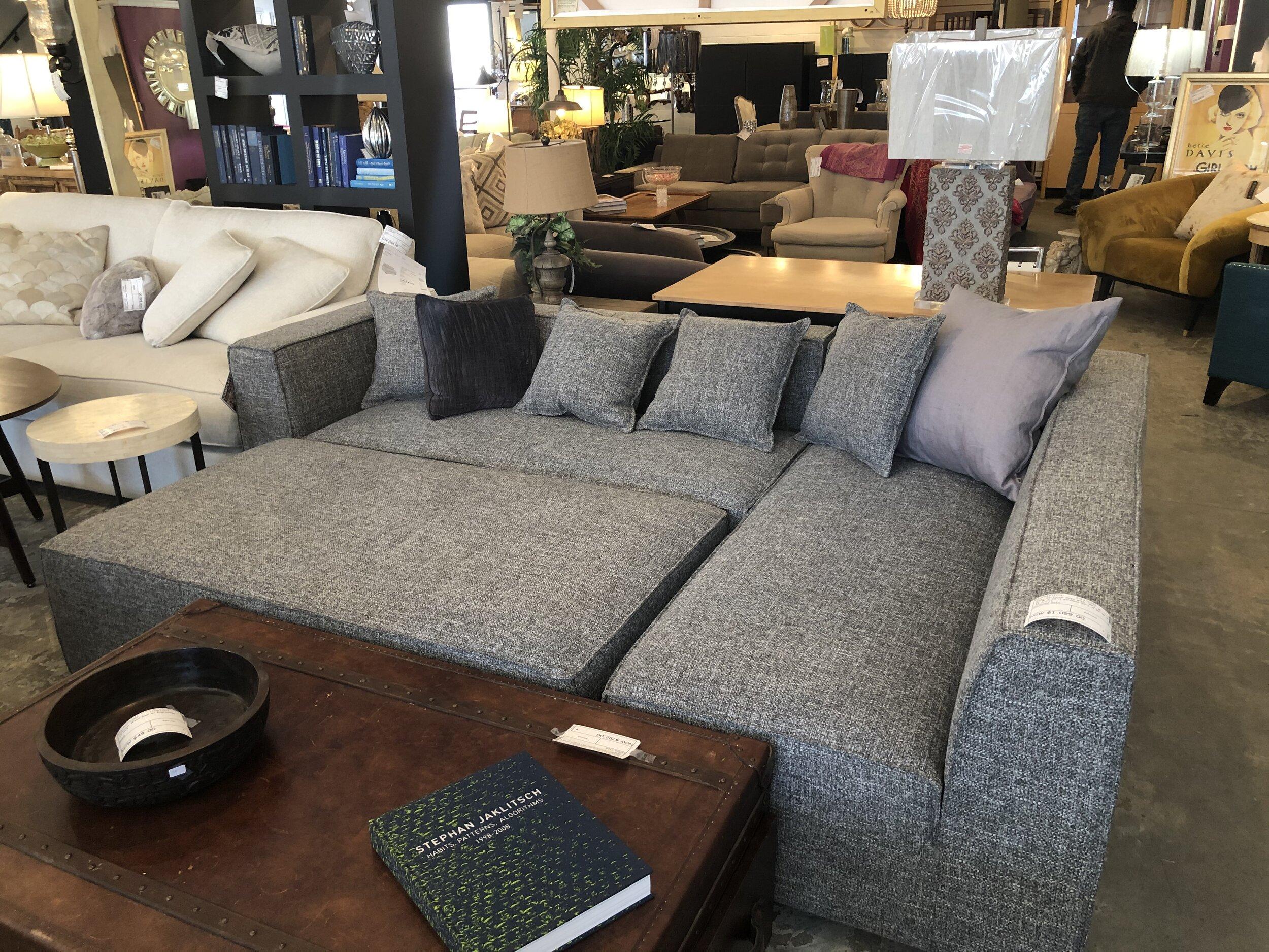 Grey Sectional Sofa W Ottoman