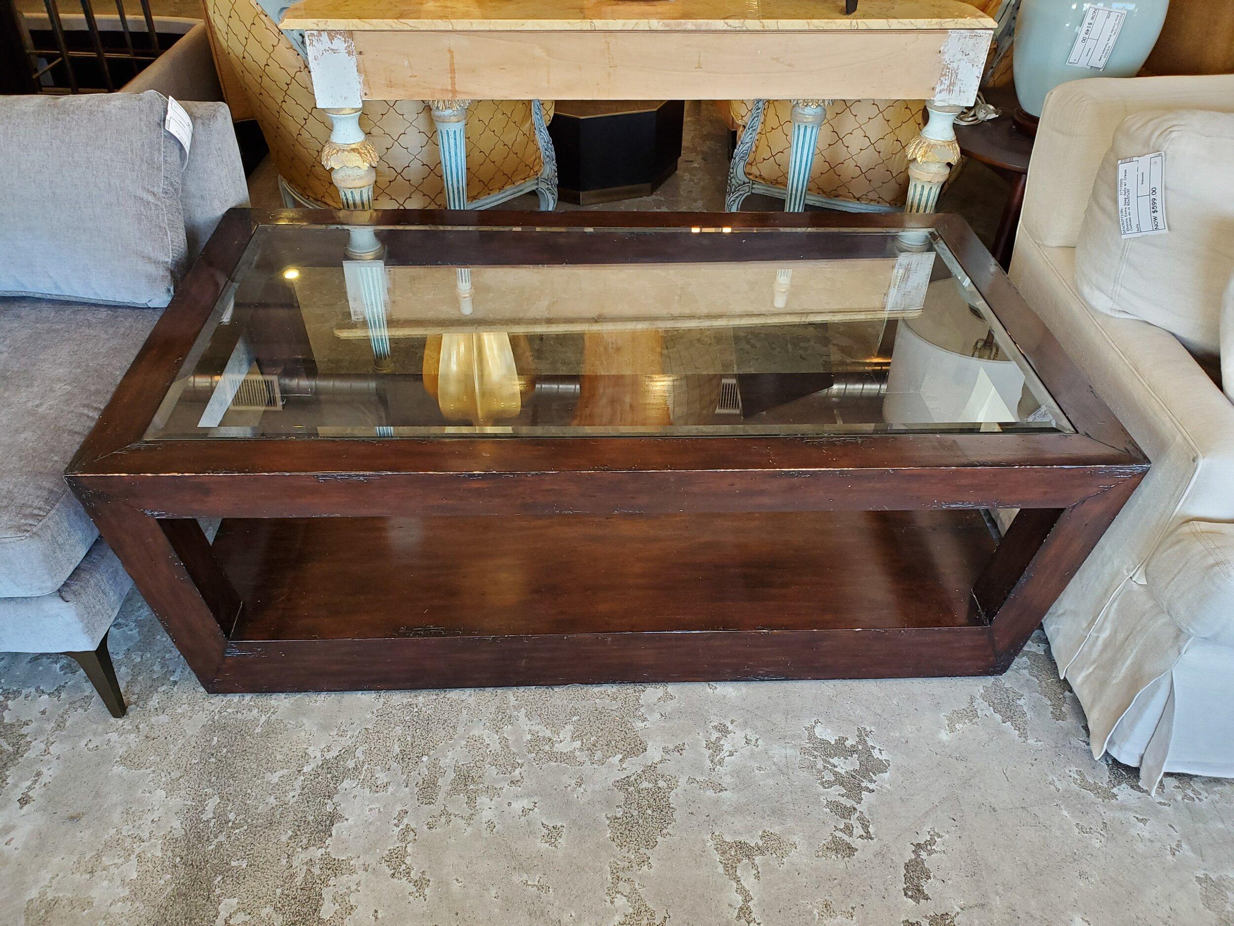 - Glass Top Dark Wood Coffee Table — Rebound Furniture & Decor