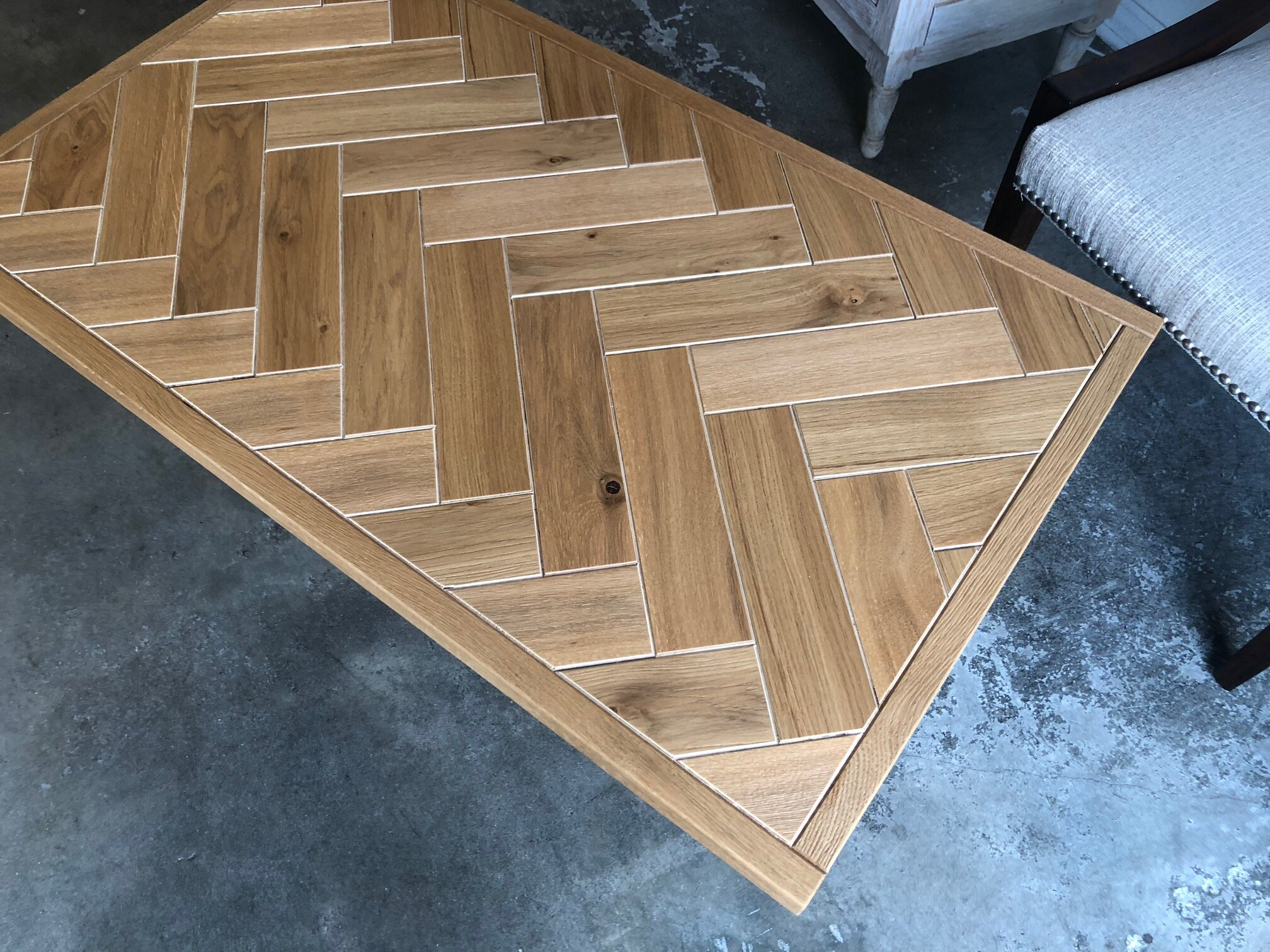 Herringbone Pattern Coffee Table