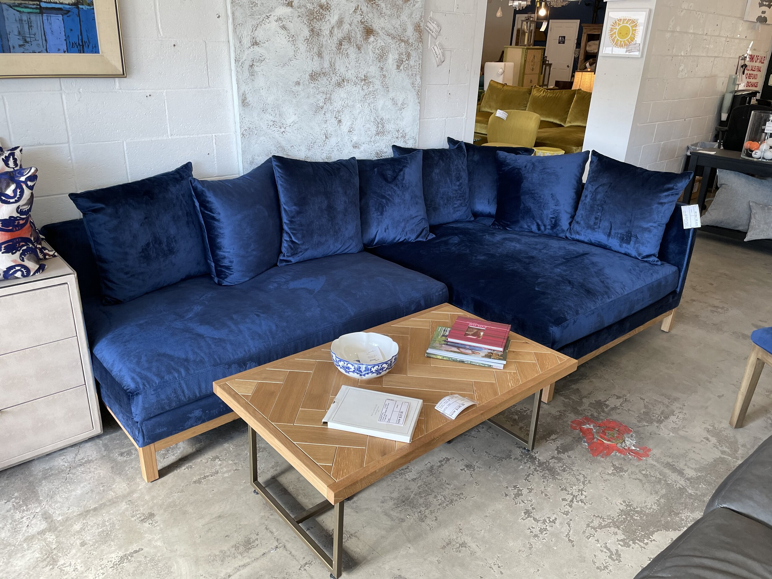 Jasper Blue Velvet Sectional Rebound Furniture Decor Consignment