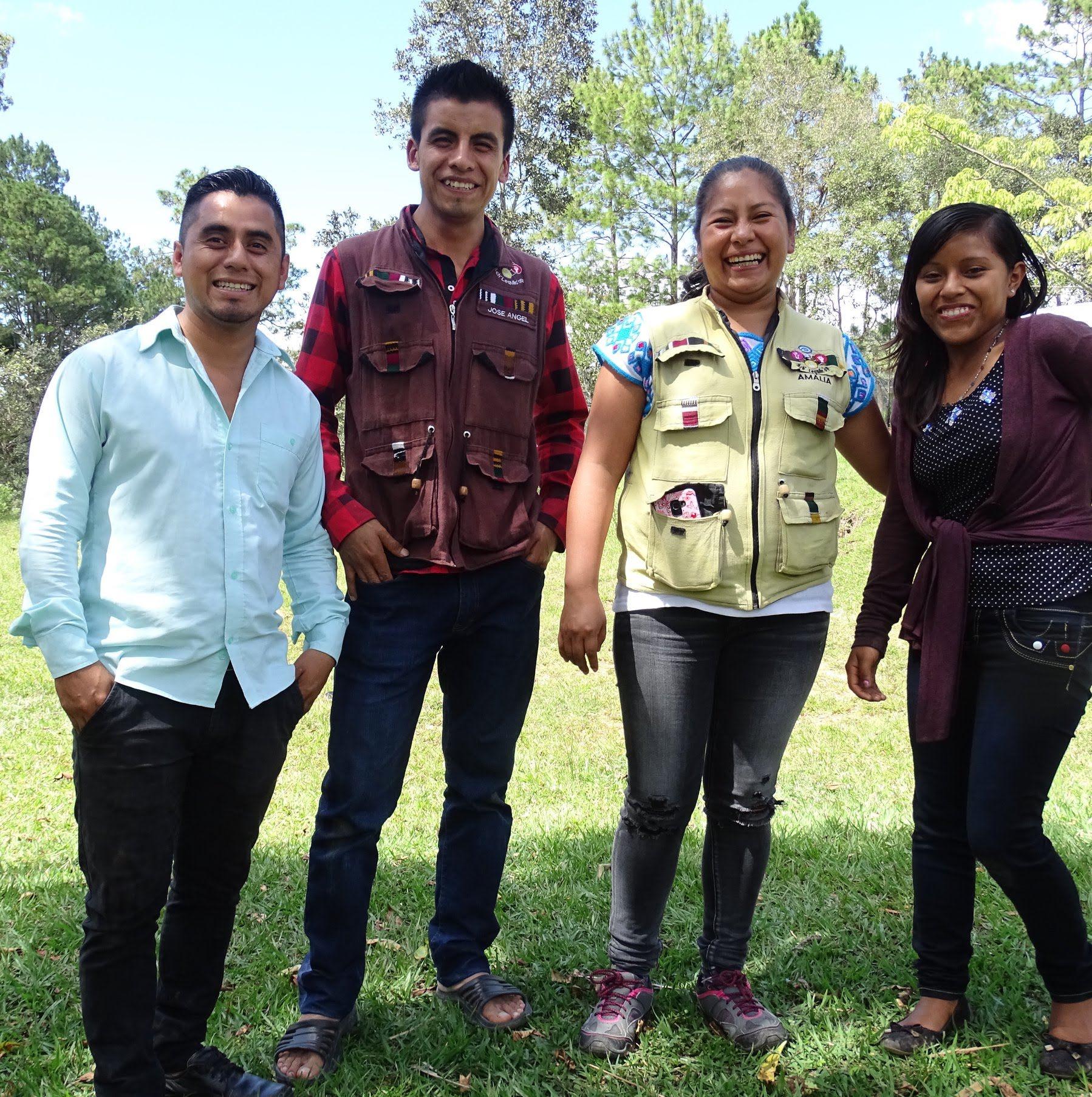 Indigenous radio staff: Gilberto, José Angel, Amalia, Herminia