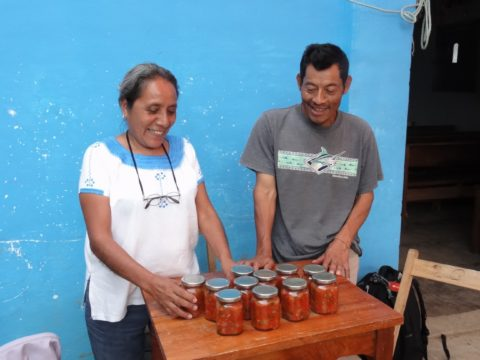 Selling salsa at a farmers' market in Chiapas