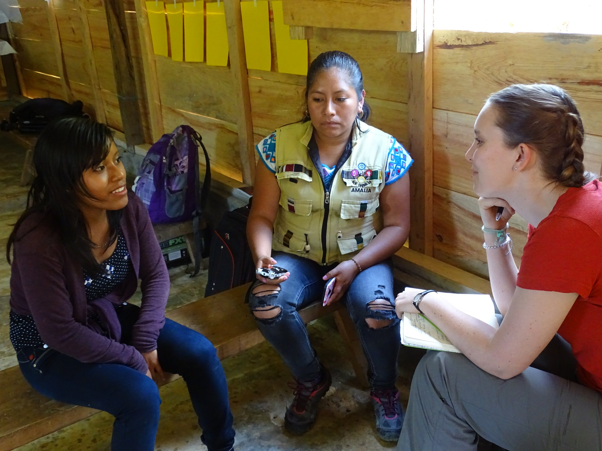 Sara interviewing radio volunteer Herminia with Amalia, the coordinator of Ach' Lequilc'op Radio in March of 2019.
