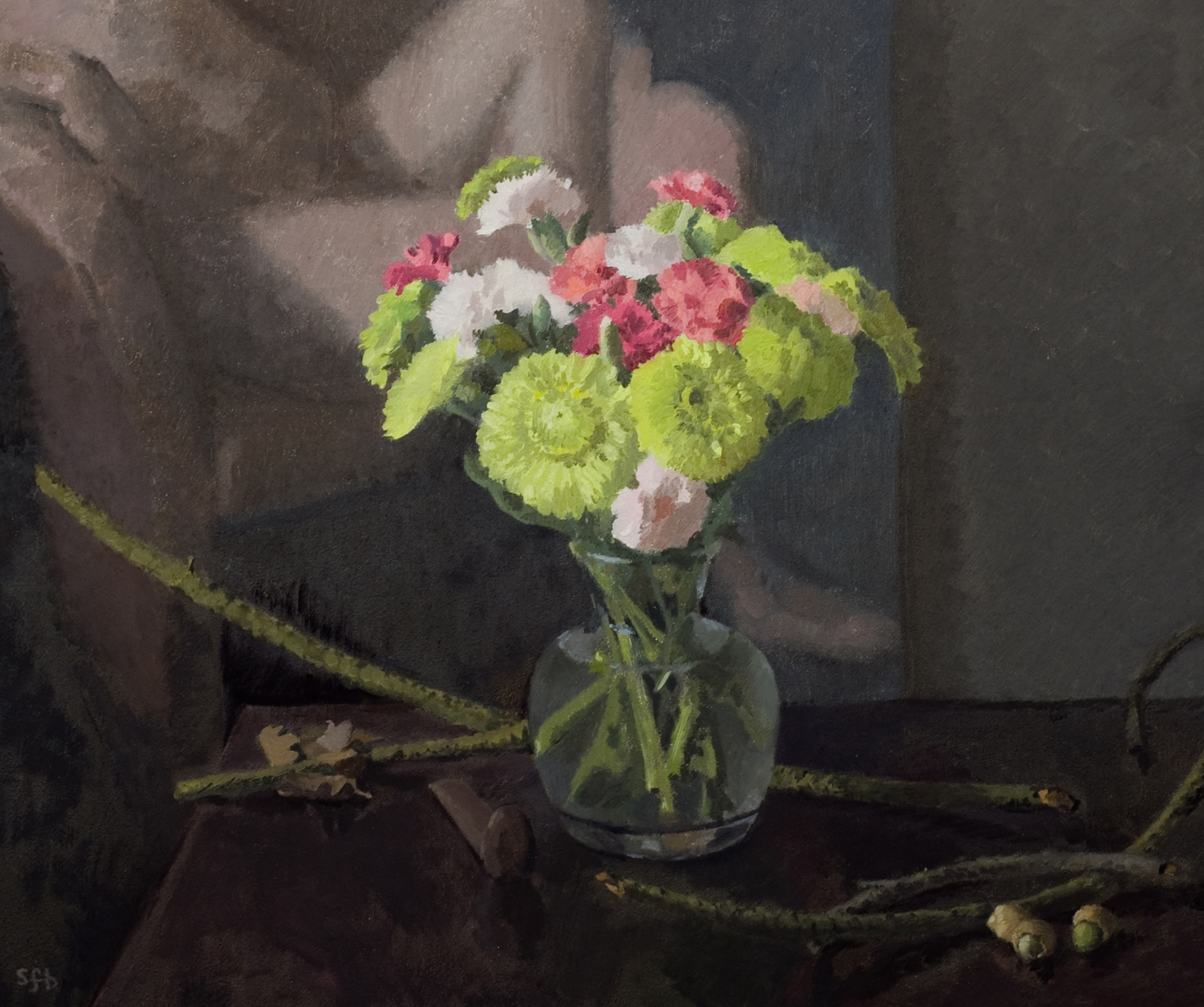 Still Life with Carnations and Green Acorns