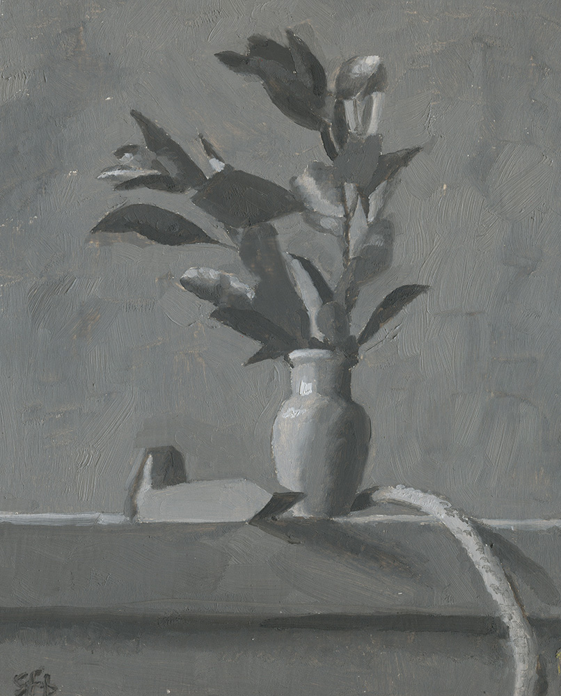 Still Life with Leaves, Vase, Stick and Railroad Pin, In Grisaille