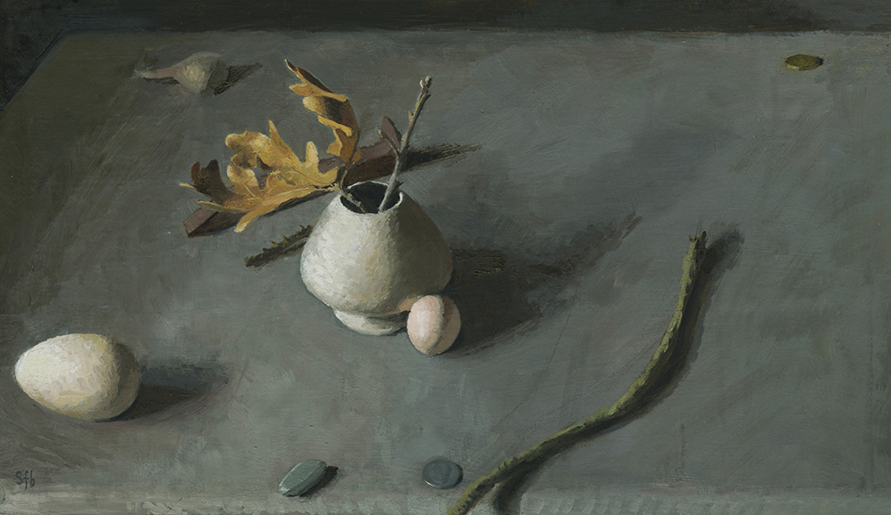 Still Life with Egg and Oak Leaf