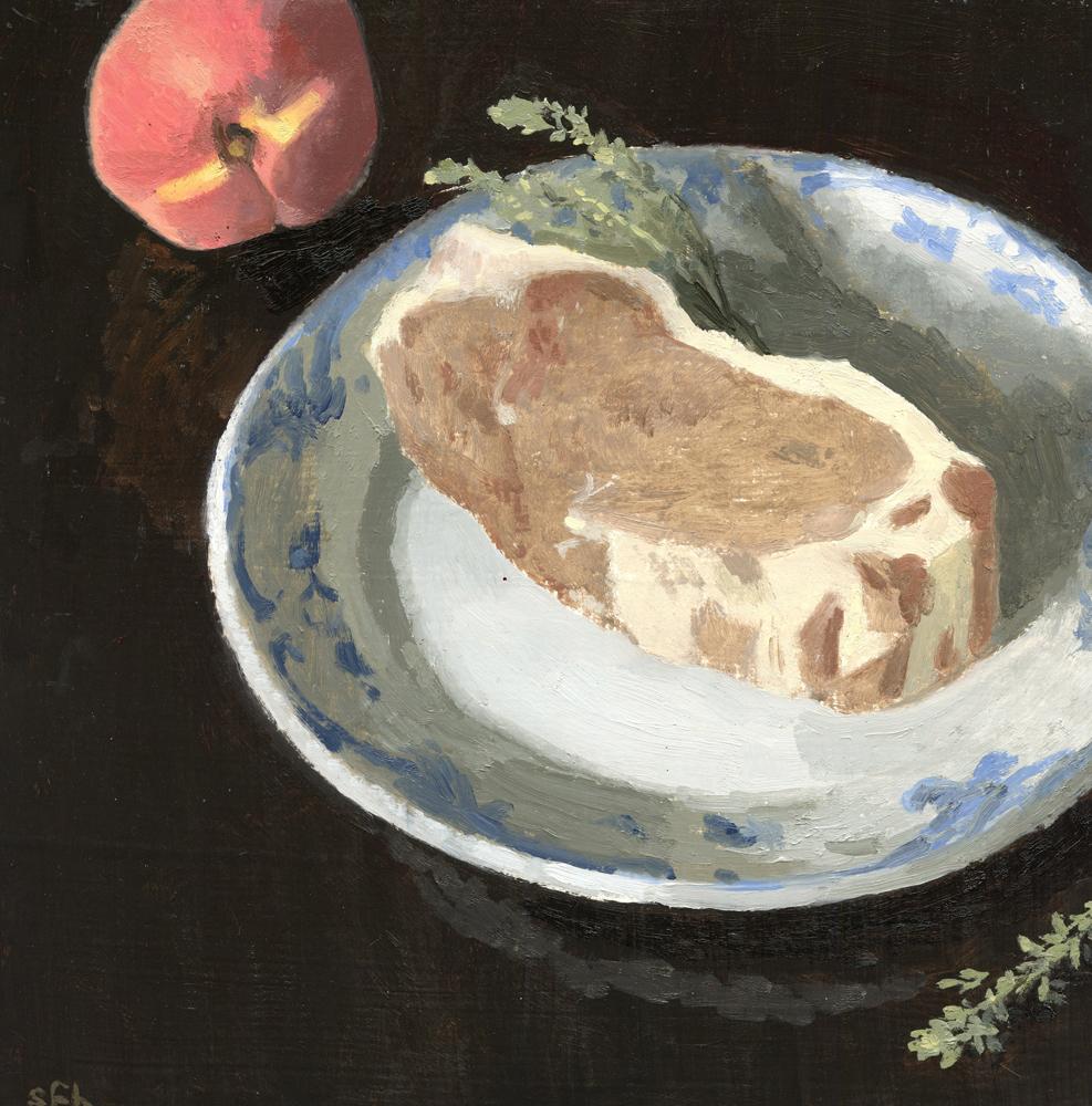 Still Life with Pork Chop and Peach