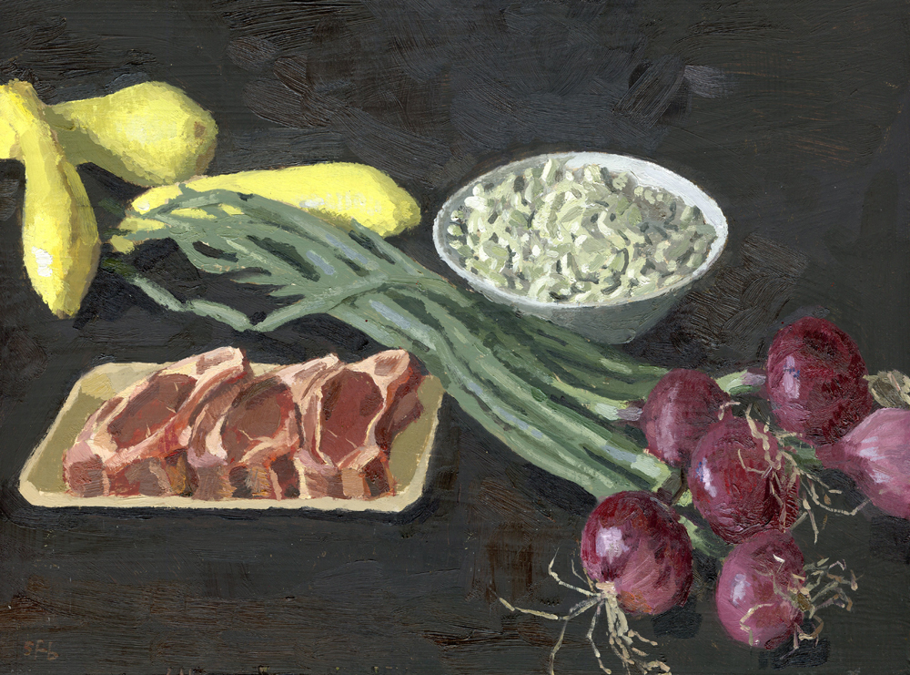 Still Life with Lamb Chops and Fresh Beans