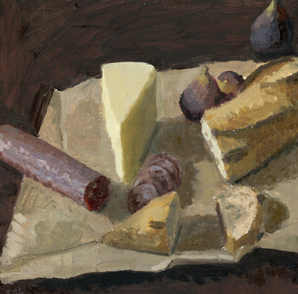 Picnic, Still Life with Salami and Cheese