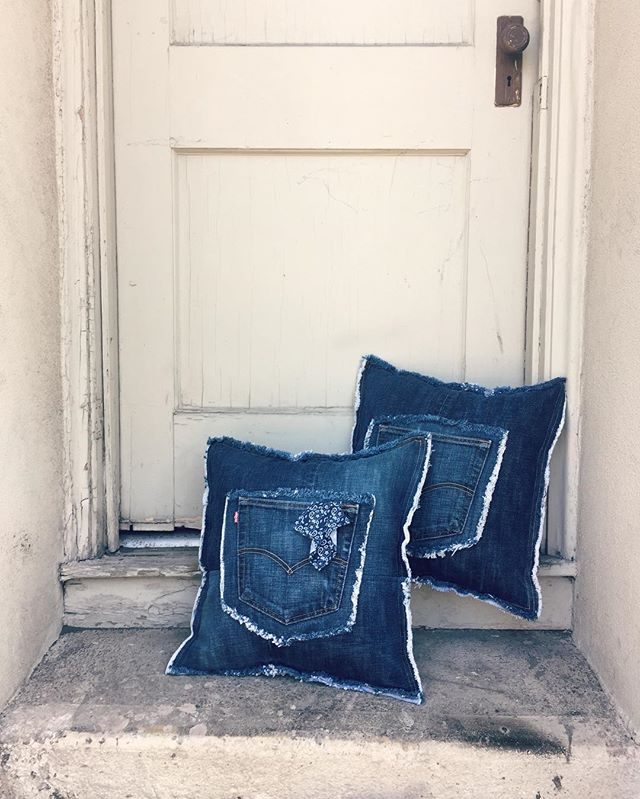 We have two custom made denim throw pillows up for sale. $55 each plus shipping. . . . #bend #oregon #denim #sewing #bendoregon #handmade #custom #oregonmade #maker