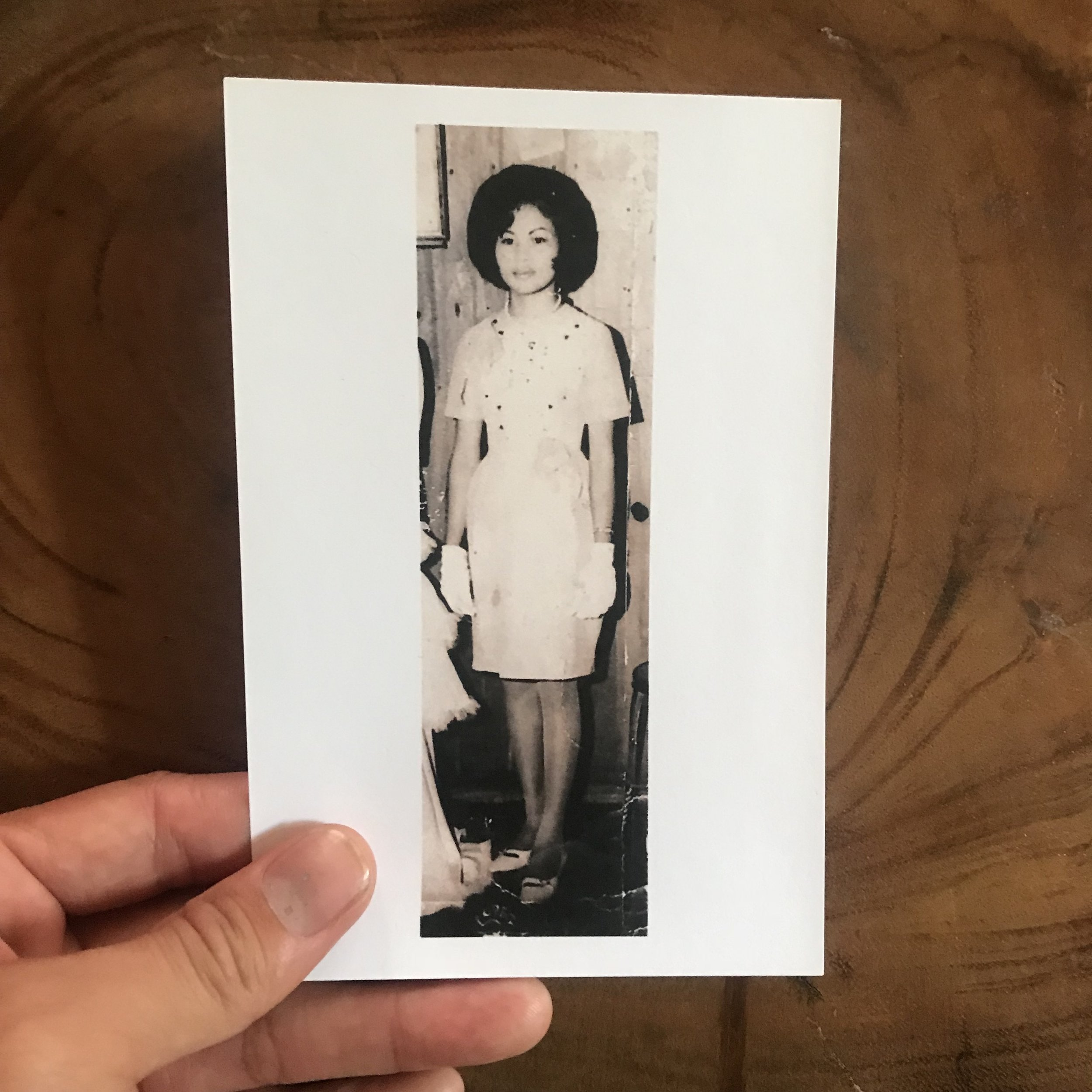 """Vintage photo of my Nanay (mother in Tagalog): Lolita Lagera Molina Carlon (b. 1952) circa 1967 in Cabilao, Philippines.  Isn't my mom a bombshell? That hair? Those gloves? I love the silhouette of her dress.  My mom's story is often shadowed by the epic of my father's, but I've been making it a point to ask her what life was like growing up poor on a small island without electricity or running water. What it was like to be a farmer on a jungle island. Or what living near some of the world's most beautiful coral reef was like? What it was like to fish or dive for food? And how coming to America to be an agricultural worker made her feel after leaving all her family behind? Many Filipinos, especially Filipino-American immigrants, shy away from sharing their impoverished past; Filipinos always attempt to present themselves in the best light: name brand bags and shoes, fresh haircut, skin lightening/bleaching... I'm still trying to figure out how this """"presentational"""" trait affects me in my life, my work, my interactions, etc..."""