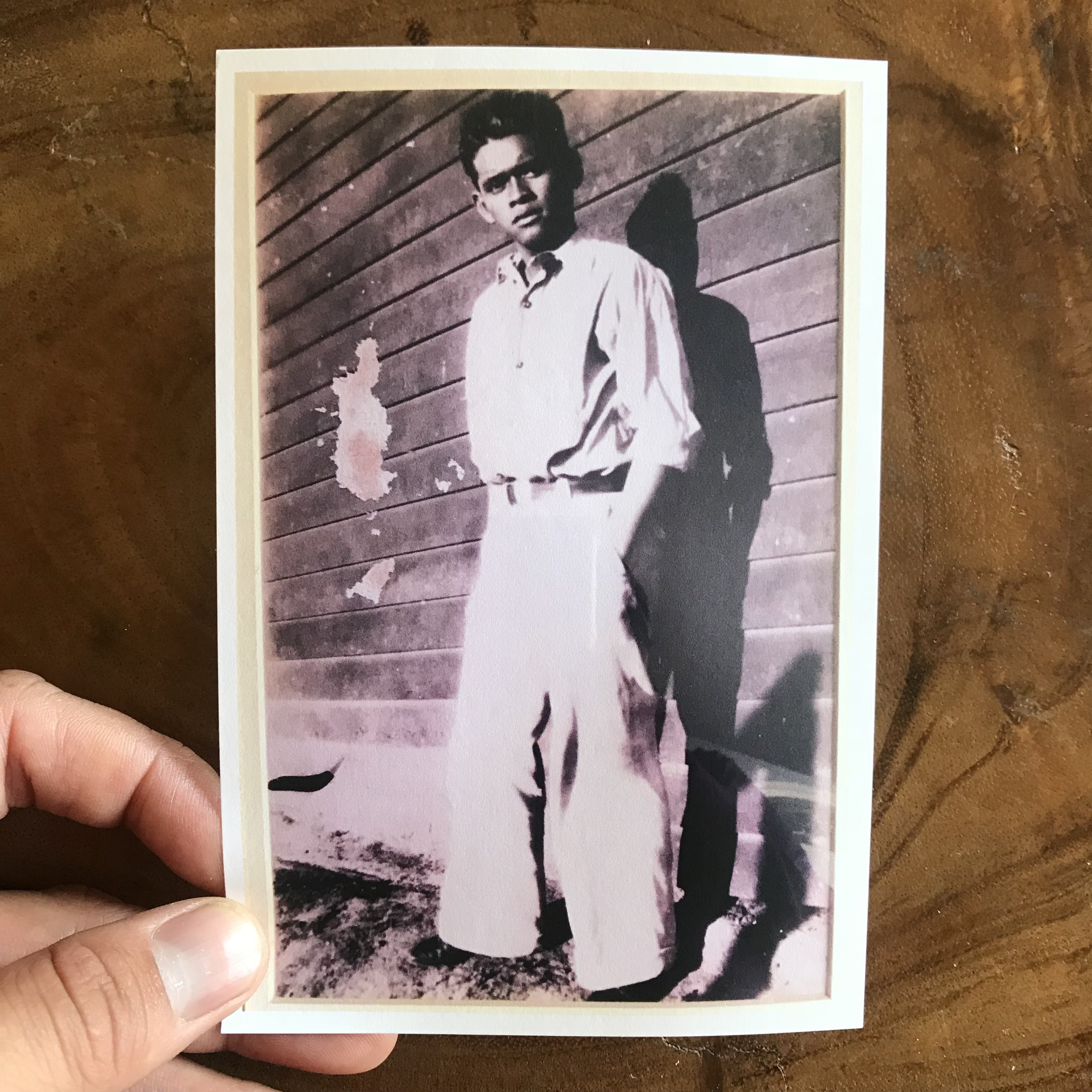 """My dad, Honorio Silva Carlon (1912-2008) circa 1940s.  My dad worked in the fields for over 50 years. Over a century of backbreaking labor feeding the hungry mouths of America. He was a migrant worker, meaning he would migrate and live wherever the crops were in season. Over half a century of squatting down picking strawberries in the blistering sun...  My work lately has focused in many sites that had a connection to the earth, the dirt. I raked the side of a hill and crawled amidst salty shores. All these experiences and opportunities somehow make me feel I'm developing a better understanding of the earth — the way my dad knew Her.  I wanted to talk about dark, leathered brown skin in this post, but Instagram has a character limit, so I'll save that for a later pst. Whooops, that's a typo, it's supposed to say """"post,"""" but pssstt, the universal call for a Filipino, is more than appropriate."""