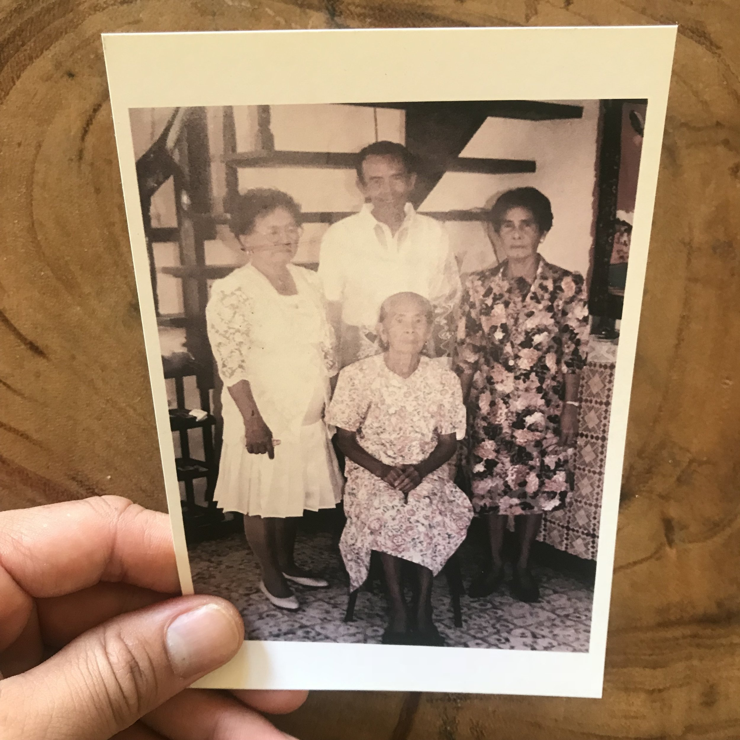 This is a photo of my Lola (grandma, right) and her mom, my great grandma, in the center.  This is the first image I've ever seen of my great grandma. It's interesting digging up this hxstory... growing up first generation American, it's easy to forget about your lineage when all you see is your immigrant family in the states.  .  My great grandmother is no longer with us today, but my grandma is... she's 92. I hope I can visit her soon before it's too late. I'm sure she's a wealth of knowledge. My only real memory of her is when I visited as a child and saw her drunk while watching wrestling, yelling at the TV. And another memory I suppose dancing cha cha in the night hours while drinking tuba (coconut wine). Maybe that's where I get it? The dancing, not the alcohol part... well, maybe both.