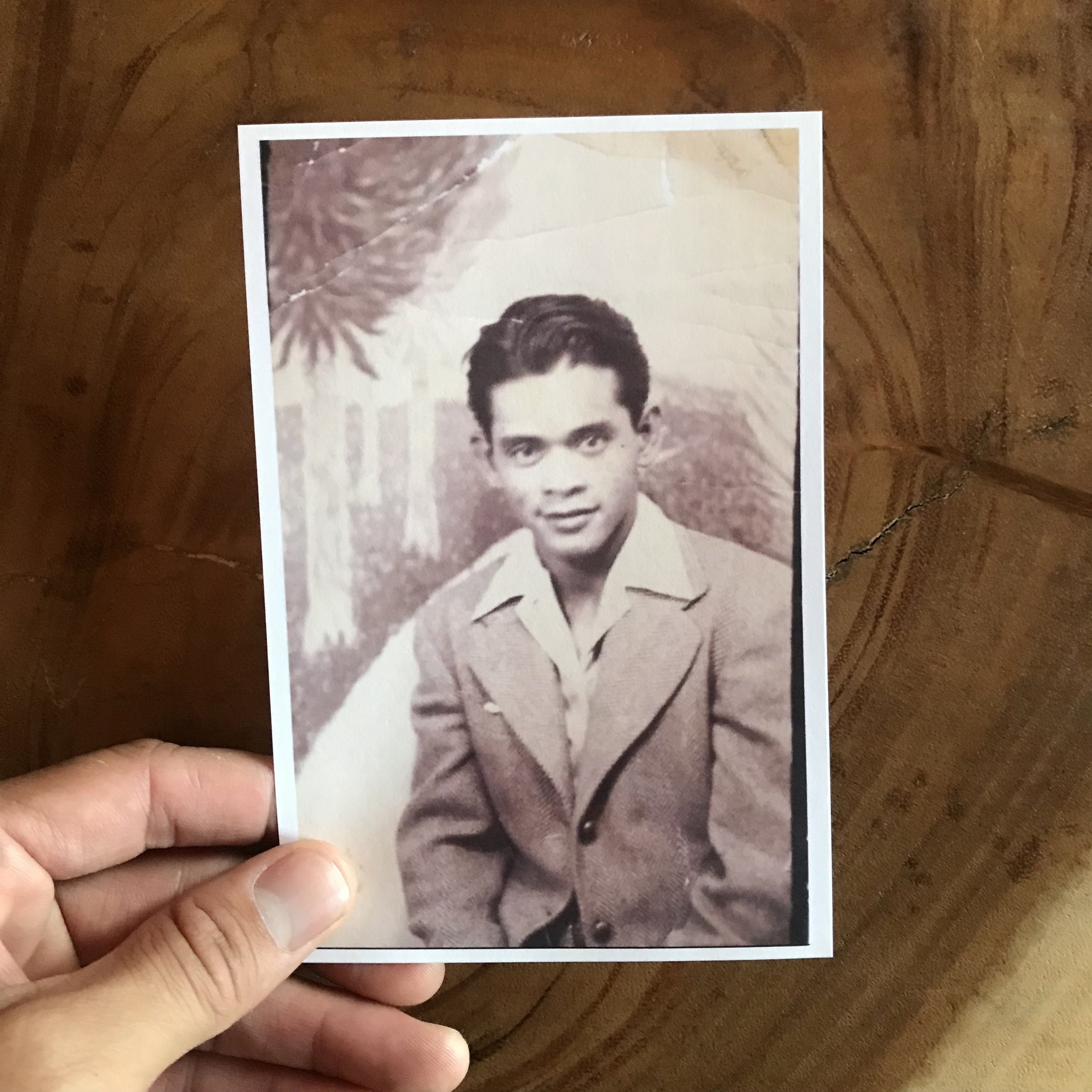 """Here's a photo of my dad, Honorio S. Carlon (1912-2008). Sometimes I look at this photo and think, """"I don't look like that..."""" then I look in the mirror and think, """"oh yeah, I do."""" It's crazy that I have a relative so close, like my fucking dad, who experienced the Great Depression, World War 2, the Civil Rights Movement, etc. He always wanted me to be a politician... I don't know why. This election season makes me think of that... I mean, my work is often political, but I don't know if what I'm doing is making the change that he wanted me to make... through policy and law... I dunno. I am a dancer and a child of my father. That's all."""