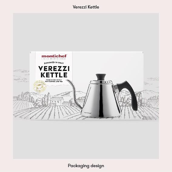 Packaging design for the Verezzi Pour-over-kettle from Montichef. ☕️ . . #packagingdesign #graphicdesign #grafiskdesign #coffee #pouroverkettle #montichef #förpackningsdesign #verezzi