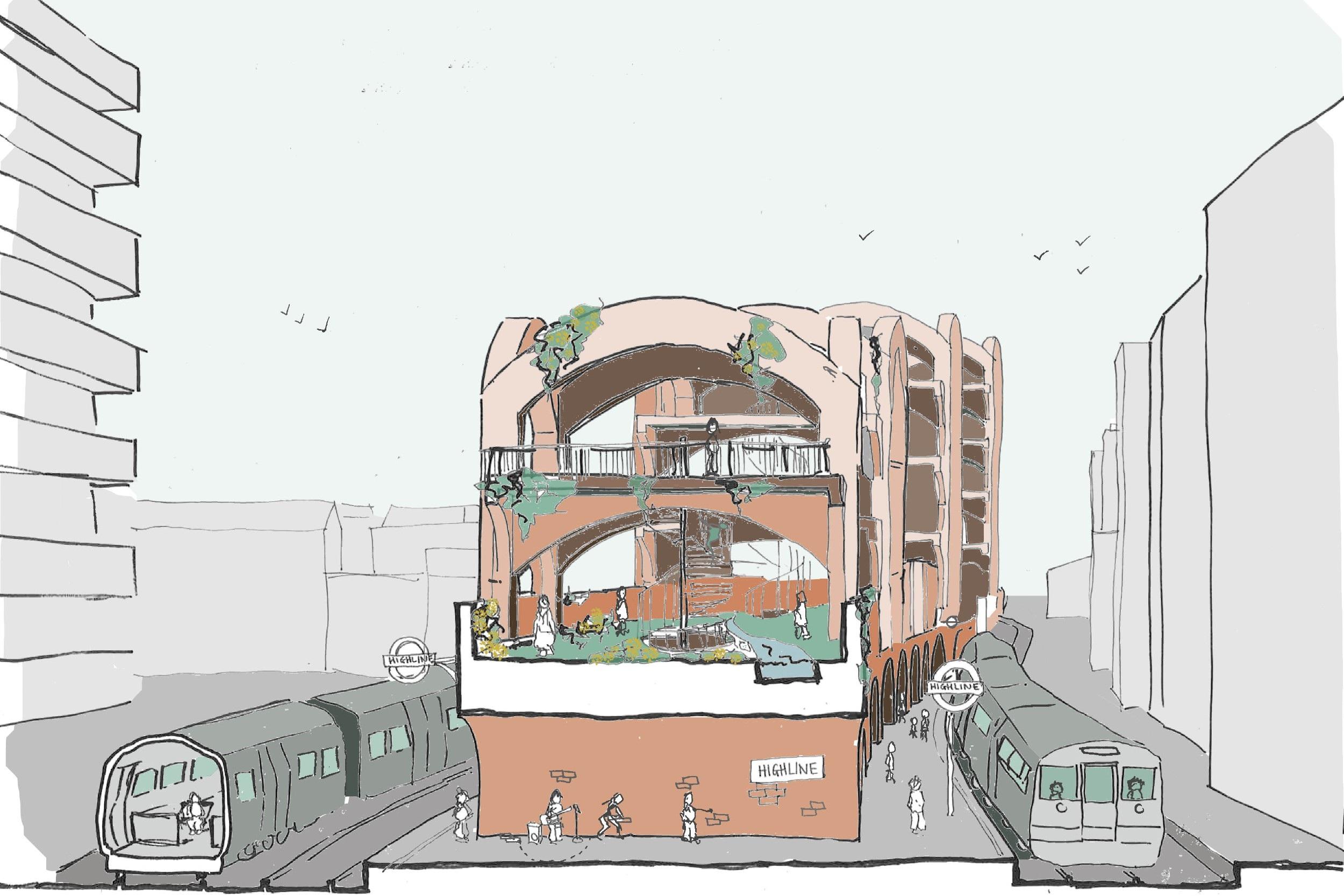 Hammersmith High Line section train station short.jpg