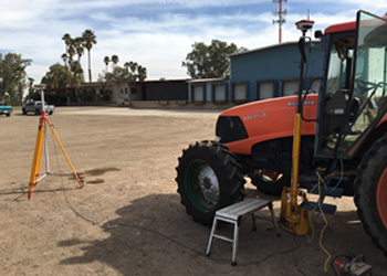 The first concept trial for a compensation system was secretly done in California, February 2016 with some help from Mark Dessert, El Centro. Mark, had a cache of all sorts of bits and pieces of GPS and machine control gear that after some modifications and changes proved that the idea would work in practice…..