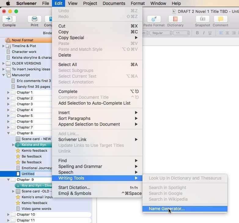 Name Generator in Scrivener