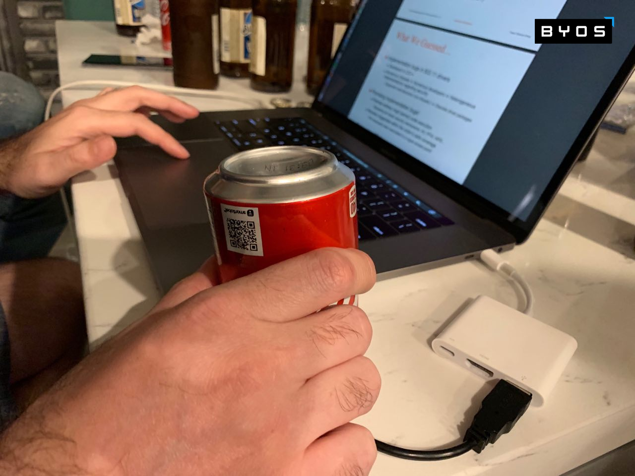 Then they got creative by using a Coke can to try to disrupt the Wi-Fi signal processing of the Portable Secure Gateway.