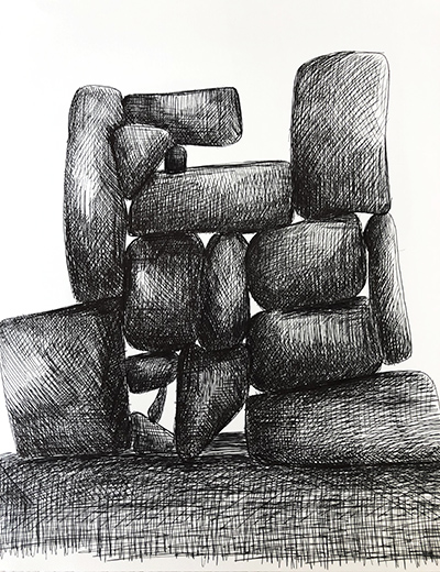 """Untitled Relation #14 , ballpoint pen on hot press Fabriano paper,  8"""" x 8"""""""